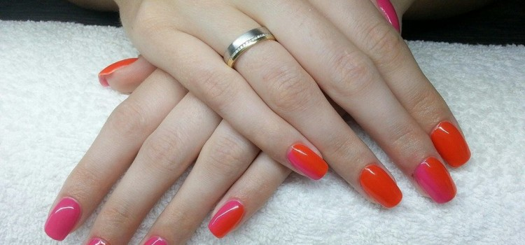 Narancs-pink ombre körmök | Orange-pink ombre nails